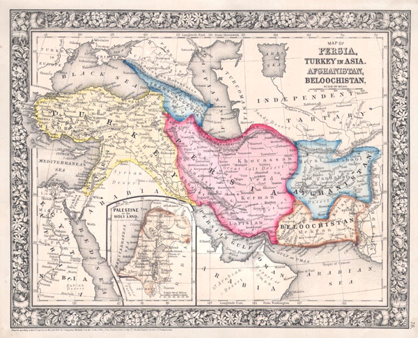 Map of Persia, Turkey in Asia, Afghanistan, Beloochistan. - Main View