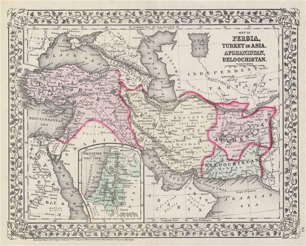 Map of Persia, Turkey in Asia, Afghanistan, Beloochistan. - Main View