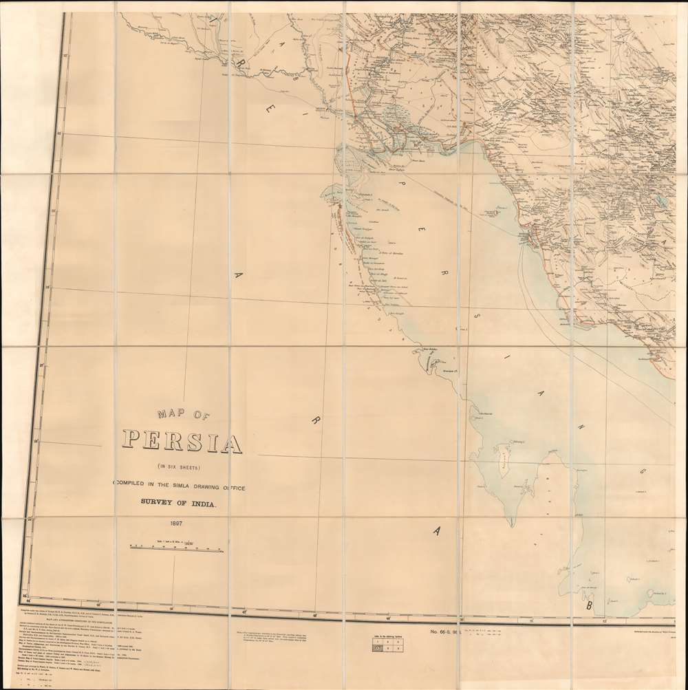 Map of Persia (in Six Sheets) Compiled in the Simla Drawing Office Survey of India. - Alternate View 1