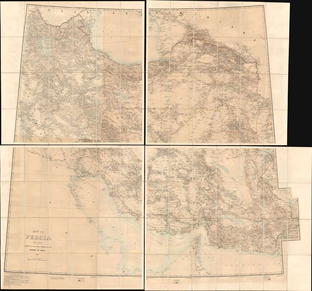 1902 Survey of India Large Scale Map of Persia
