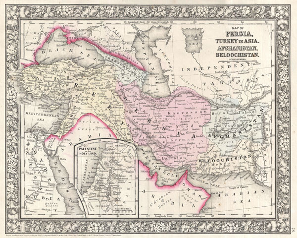 Map of Persia, Turkey in Asia, Afghanistan, Beloochistan.