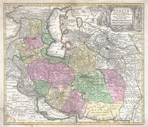 1750 Lotter Map of Persia, the Caspian Sea, and the Caucasus