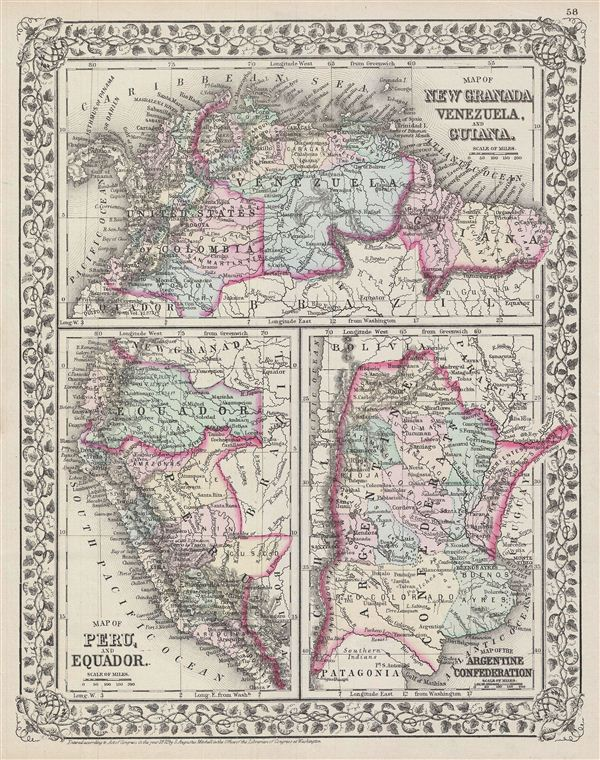 Map of New Granada, Venezuela and Guiana.  Map of Peru, and Equador.  Map of the Argentine Confederation. - Main View