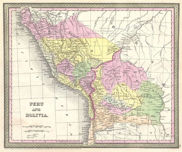1854 Mitchell Map of Peru and Bolivia
