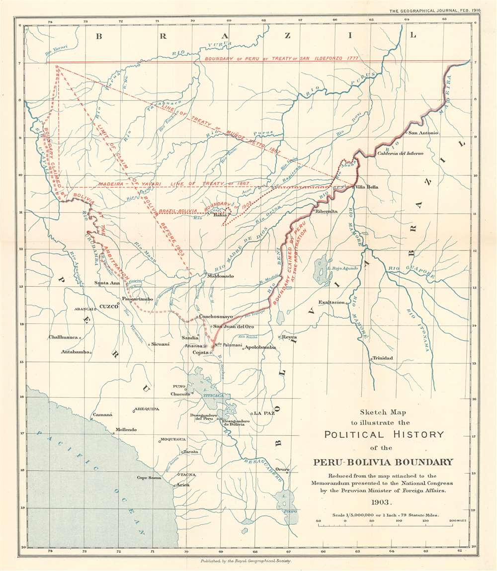 1916 Royal Geographical Society Map of Bolivia and Peru