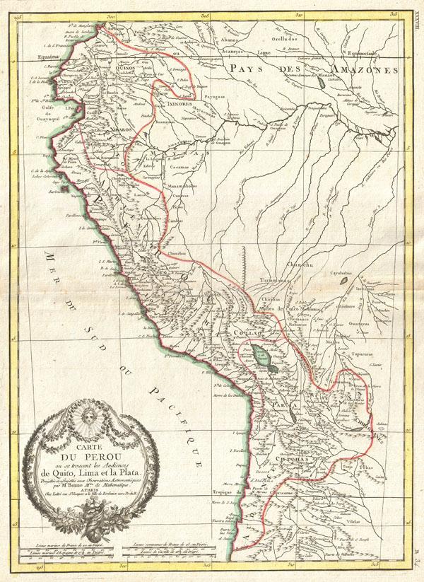 Carte Du Perou ou se trouvent les Audiencees de Quito, Lima et la Plata. - Main View
