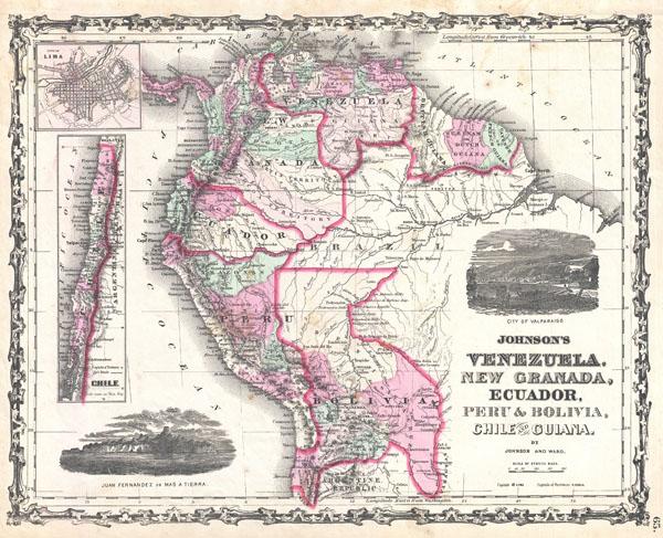 Johnson's Venezuela, New Granada, Ecuador, Peru & Bolivia, Chilie & Guiana. - Main View