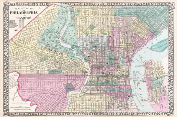 Plan of the City of Philadelphia and Camden Geographicus Rare