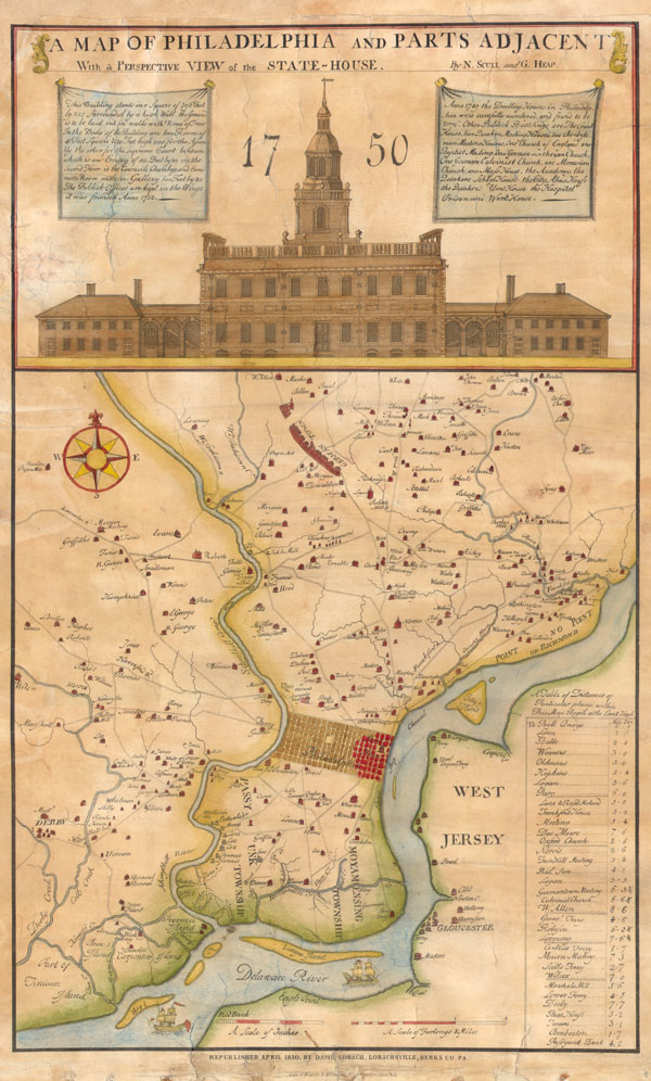 A Map of Philadelphia and Parts Adjacent With a Perspective View of the State-House.