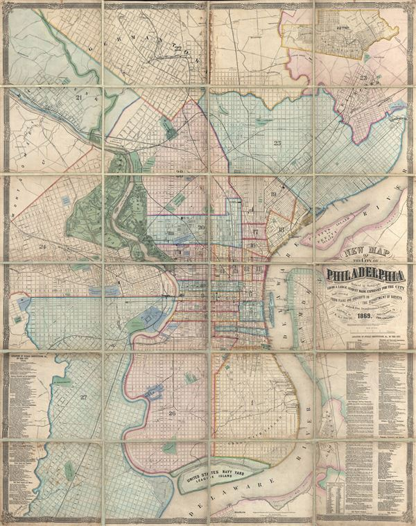 New Map of the City of Philadelphia, reduced by Photography from a large survey made expressly for the City and corrected from Plans and Draughts in the Department of Surveys, by John. H. Dye, Draughtsman and Surveyor. - Main View