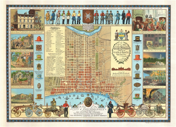 A Map of the City of Philadelphia Showing the Location of the Volunteer Fire Companies with Pictures of Some of their Engines and Equipment, Prior to, and Contemporaneous with, the Founding of the Insurance Company of North America.