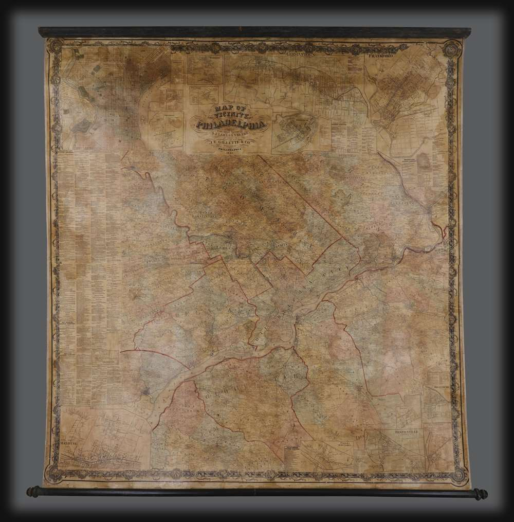 1861 Beers Wall Map of Philadelphia and Vicinity