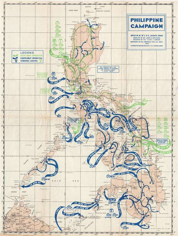 1945 U.S. Army Map of the Philippine Campaign