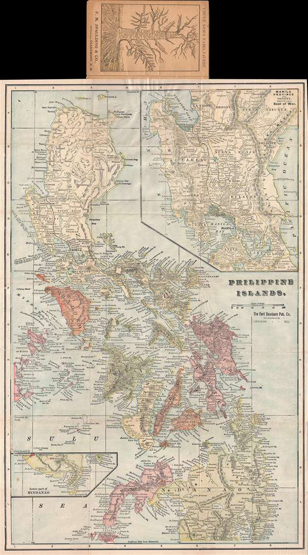 1899 Fort Dearborn Pocket Map of the Philippines