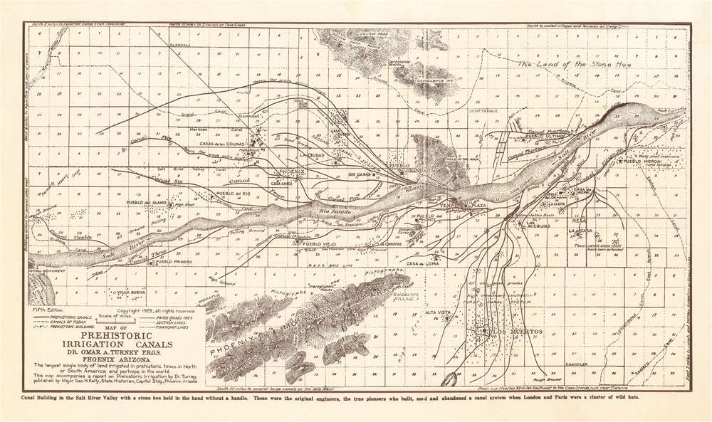 Map of Prehistoric Irrigation Canals.  Dr. Omar A. Turney F.R.G.S. Phoenix, AZ