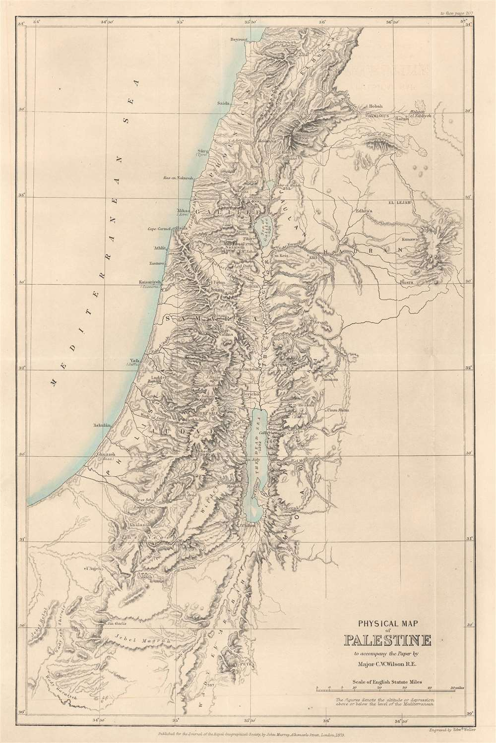 Physical Map of Palestine to accompany the Paper by Major C.W. Wilson R.E. - Main View