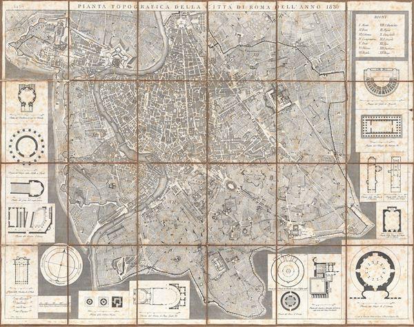 Pianta Topografica della Citta di Roma dell'Anno 1836.