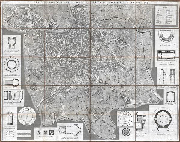 Pianta Topografica della Citta di Roma dell'Anno 1841.
