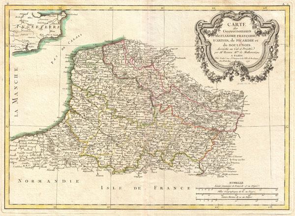 Carte des Gouvernements de Flandre Francoise, d'Artois, de Picardie et du Boulenois.