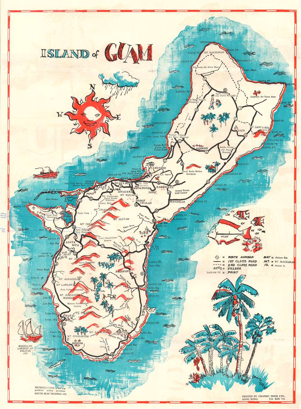 Pictorial and Road Map of Guam. Island of Guam. - Main View