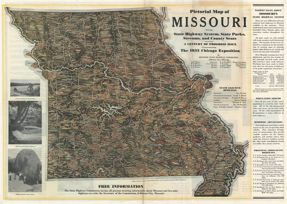 Pictorial Map of Missouri Showing State Highway System, State Parks, Streams, and County Seats. - A Century of Progress Issue Commemorating the 1933 Chicago Exposition. - Main View
