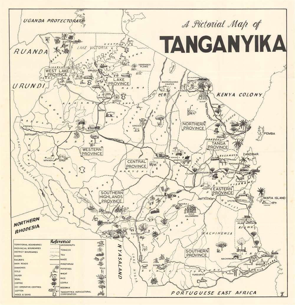 A Pictorial Map of Tanganyika. - Main View