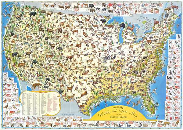 Pictorial Wildlife and Game Map of the United States.