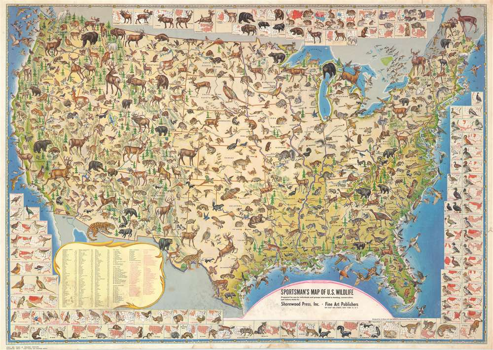 Sportsman\'s Map of U.S. Wildlife.: Geographicus Rare Antique ...