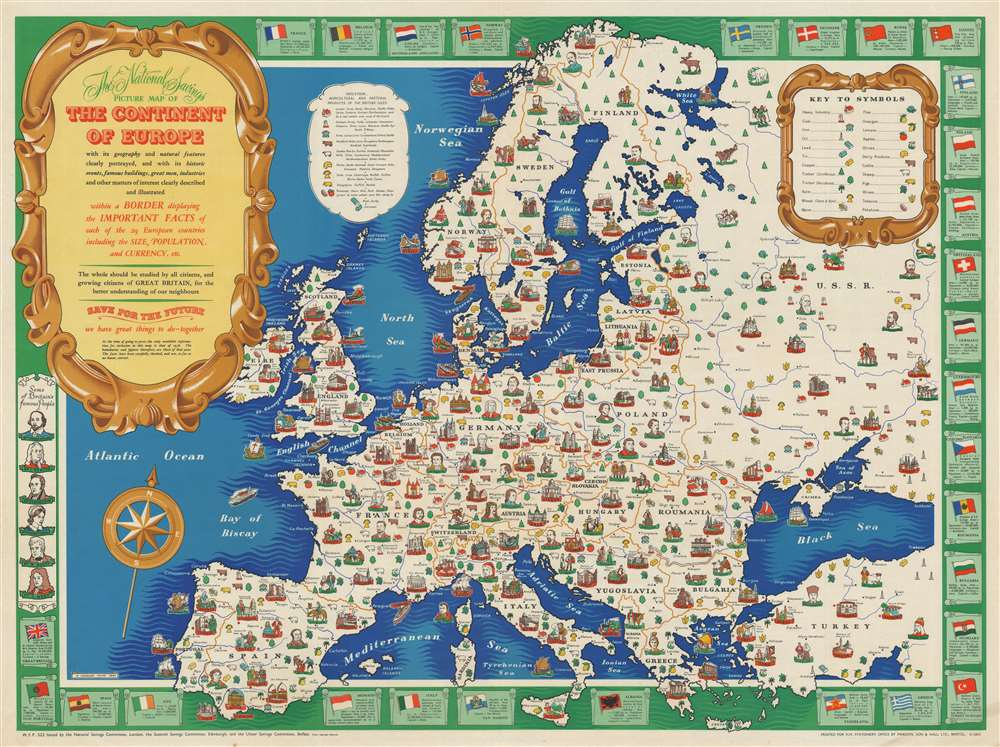 1945 Paine Pictorial Map of Europe