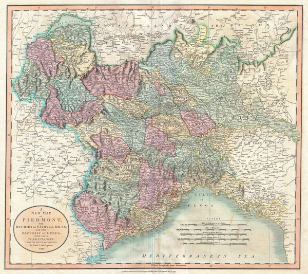 A New Map of Piedmont, the Duchies of Savoy and Milan; and the Republic of Genoa; with their Subdivisions. - Main View