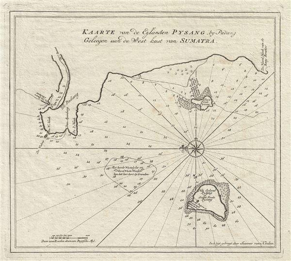 Kaarte van de Eylanden Pysang by Padang Geleegen aan de West kust van Sumatra.