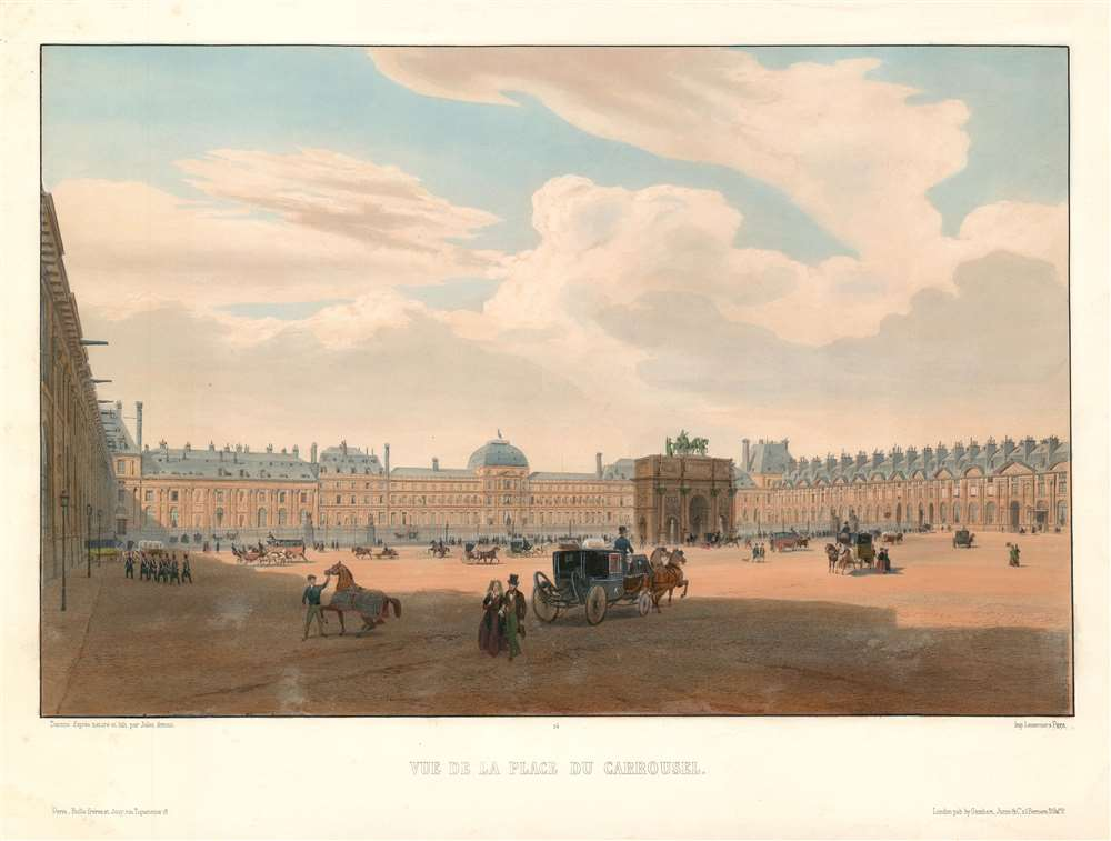 1845 Arnout View of the Place Carrousel and the Tuileries Palace