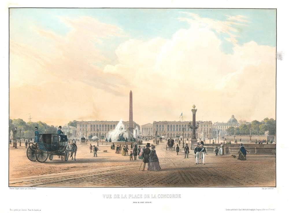 1844 Arnout View of the Place de la Concorde, Paris, France