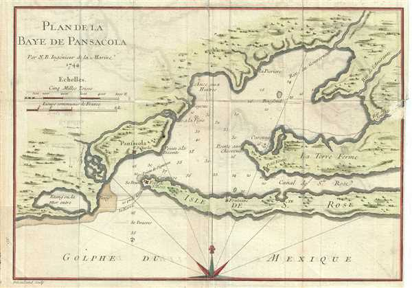 Plan De La Baye De Pensacola Geographicus Rare Antique Maps