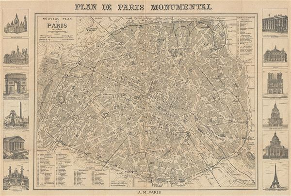 Plan de Paris Monumental.  Nouveau Plan de Paris.