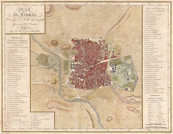 1782 Mentelle Map or Plan of Madrid, Spain