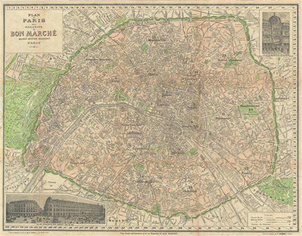 Plan de Paris des Magasins du Bon Marche. - Main View