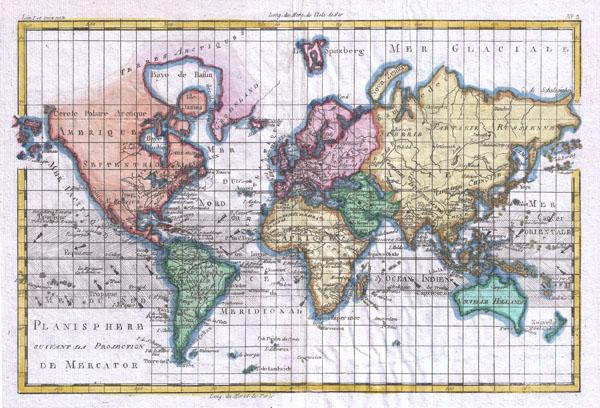 Planisphere Suivant La Projection De Mercator - Main View