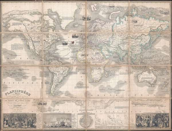 Planisphère Illustré présentant la description géographique des parties connues de la Terre indiquant l'époque des grandes decouverteset le nom des navigateurs, les Coloniess des Diverses Nations ainsi que le percours des bateaux à vapeur, l'époque des départs, la durée du trajet, etc.