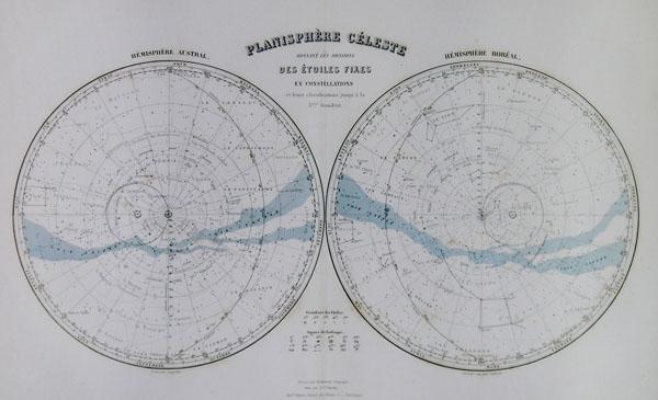 Planisphere Celeste Donnant Les Divisions Des Etoiles Fixes en Constellations et leurs classifications jusqua'a la 5eme Grandeur. - Main View