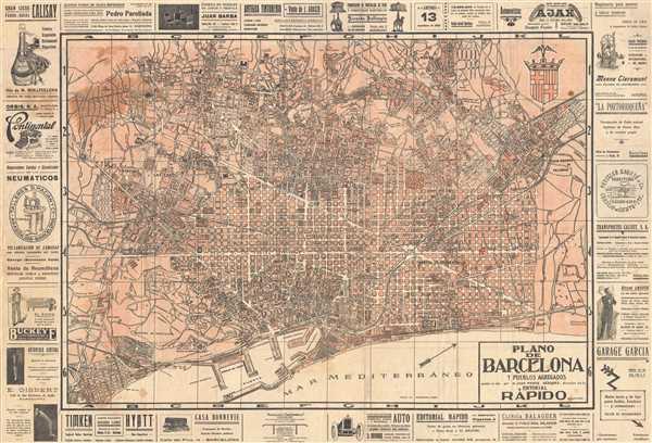 Plano de Barcelona y Pueblos Agregados.