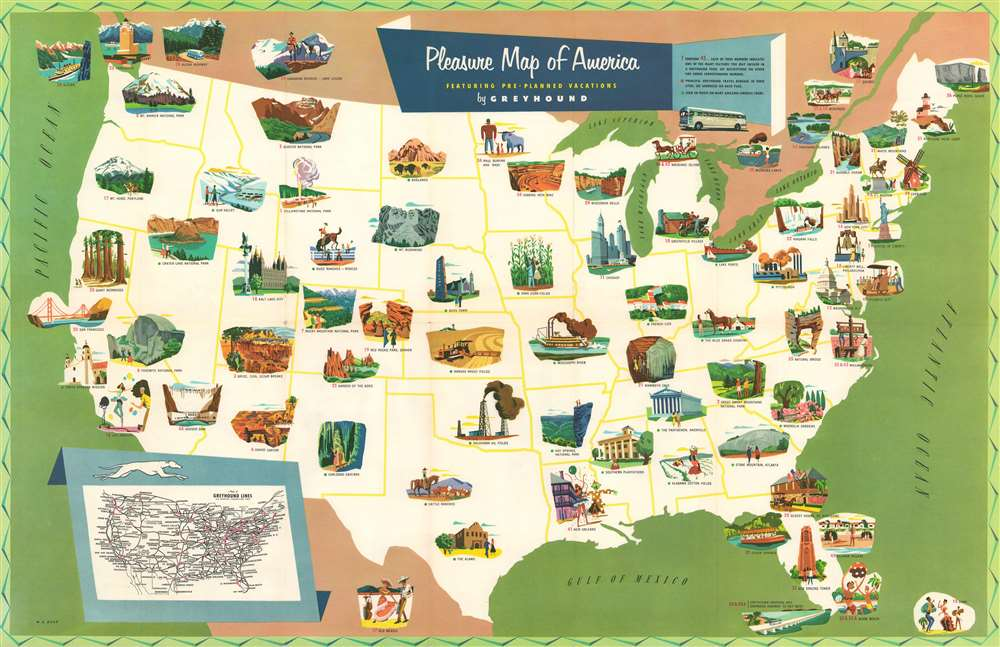 Pleasure Map of America. - Main View
