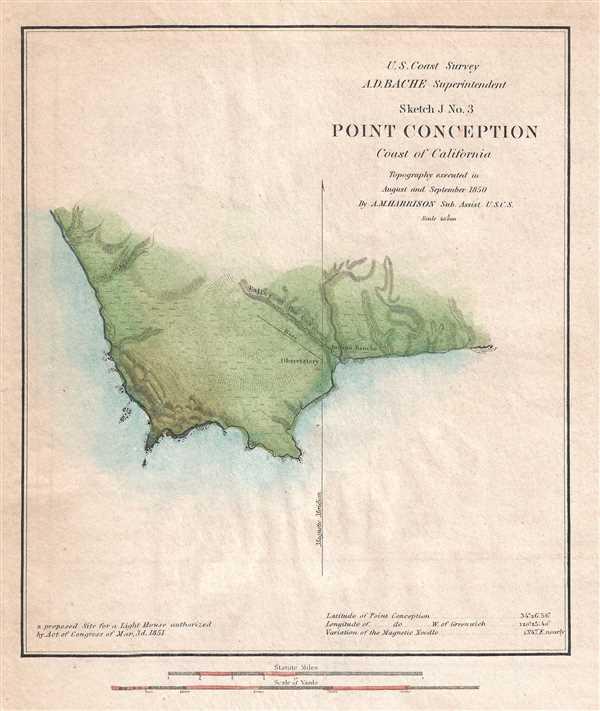 Santa Barbara California Map.Sketch J No 3 Point Conception Coast Of California Geographicus