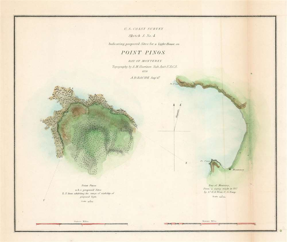 1851 U.S. Coast Survey Chart or Map of Point Pinos, Monterey Bay, California