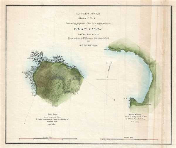Sketch J. NO. 4 Indicating proposed Sites for a Light-House on Point Pinos Bay of Monterey.