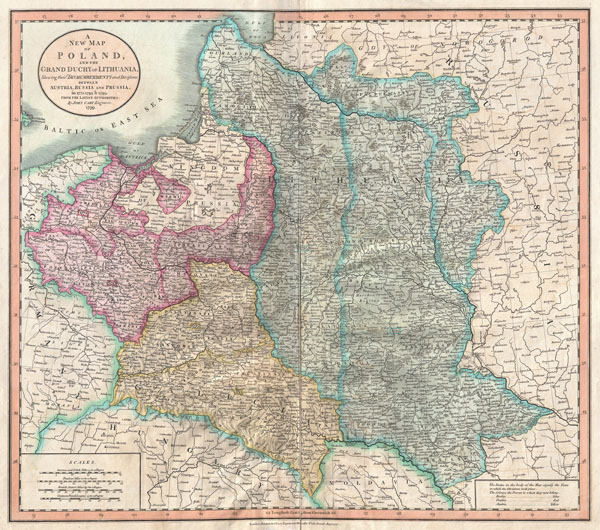 A New Map of Poland and the Grand Duchy of Lithuania, Shewing their Dismemberments and Divisions between Austria, Russia and Prussia in 1772, 1793, & 1795.