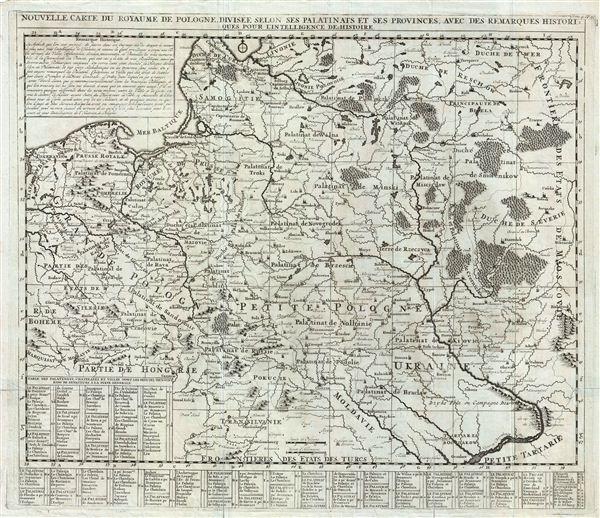 Nouvelle Carte du Royaume de Pologne Divisee Selon ses Palatinats et ses Provinces, avec des Remarques Historiques pour L'Intelligence de l'Histoire.