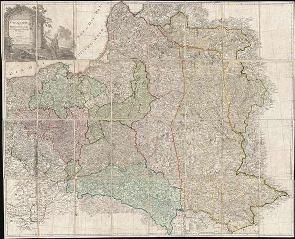 Grenzkarte der Preussischen Russischen und Oestreichischen Monarchien in XVI Blättern. - Main View