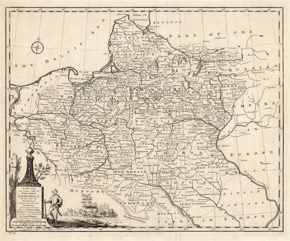 1766 Bowen Map of Poland and Lithuania