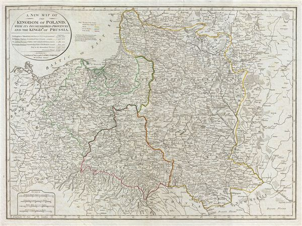 A New Map of the Kingdom of Poland, with its dismembered provinces and the Kingdm. of Prussia. - Main View